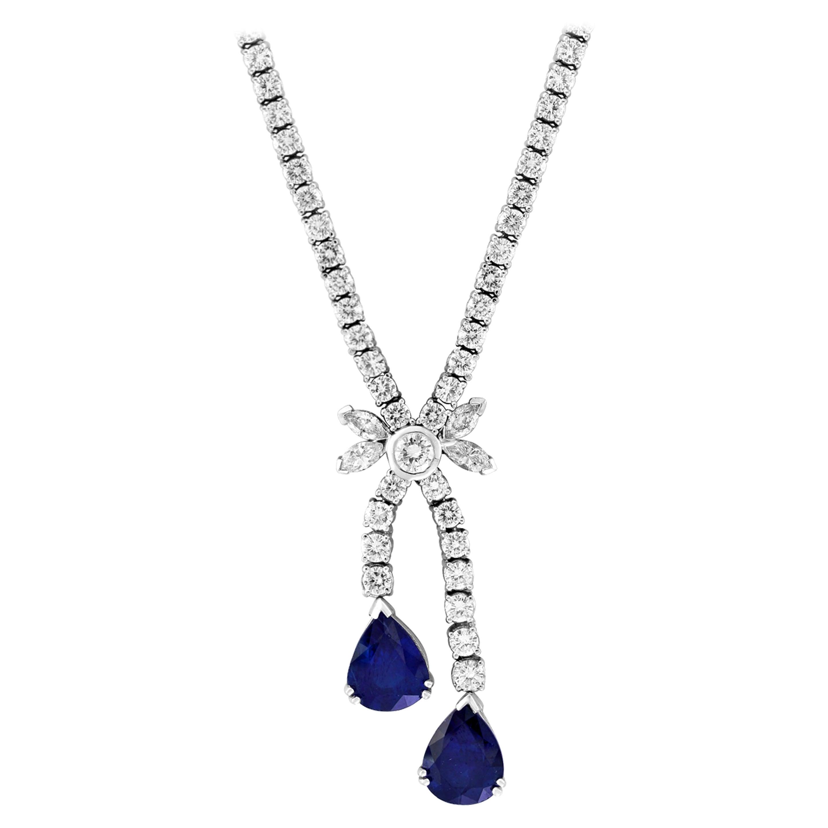 Natural Blue Sapphire and Diamond Necklace 18 Karat White Gold, Estate