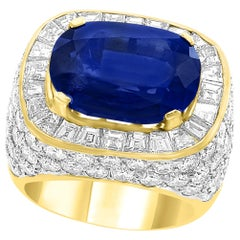 AGL Certified  No Heat  Natural 11.81 Ct Blue Sapphire & Diamond 18K Gold Ring