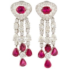 Ella Gafter Ruby and Diamond Chandelier Earrings