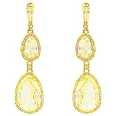 Fashion Yellow Gold Citrine and Yellow Sapphire Earrings
