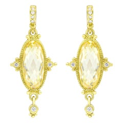 Fashion Yellow Gold Citrine and Diamond Earrings
