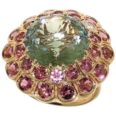 Rhodolite Garnet Prasiolite Diamond 18 Karat Rose Gold Cocktail Ring