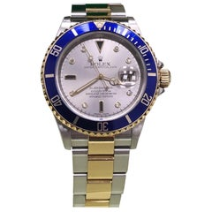 Rolex Submariner 16613 Silver Serti Diamond Dial 18 Karat Yellow Gold and Steel