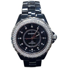 Chanel J12 H2014 Black Ceramic Original Diamond Dial and Bezel Box and Booklets