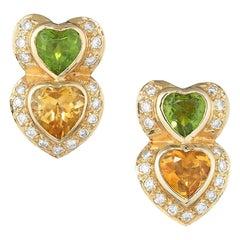 Yellow Gold Double Heart Shaped Peridot Citrine and Diamond Earrings