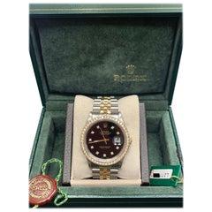 Rolex Datejust 16233 Black Diamond Dial Bezel 18 Karat Gold Steel Box and Paper