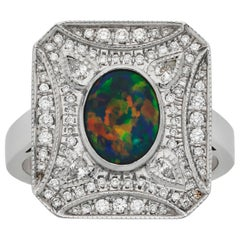 Giulians Art Deco Inspired 1.20ct Black opal and Diamond Ring