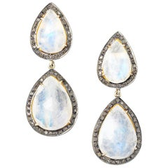 Gilt Silver Diamond and Moonstone Drop Earrings