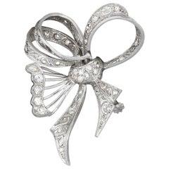 Vintage Platinum Diamond Butterfly Bow Pin
