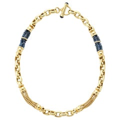 Yellow Gold Sapphire Chain Necklace