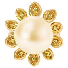 Giulians 15mm Golden South Sea Pearl and Yellow Diamond Flower Ring