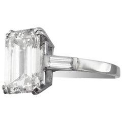 Engagement ring set with 3.82 Carat Emerald-Cut Diamond