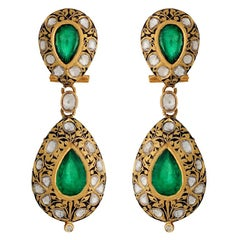 Manjrie Emerald Rose-Cut Diamond 22k Gold Artisan Dangle Earrings
