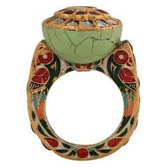 Manjrie Ruby Emerald Uncut Diamond Turquoise 22k Gold Artisan Enamel Ring