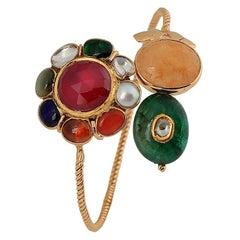 Manjrie Ruby Pearl Coral Emerald Yellow Sapphire Diamond Gold Artisan Bracelet