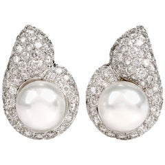 Diamond Pearl Tear Drop Clip-On 18 Karat White Gold Earrings