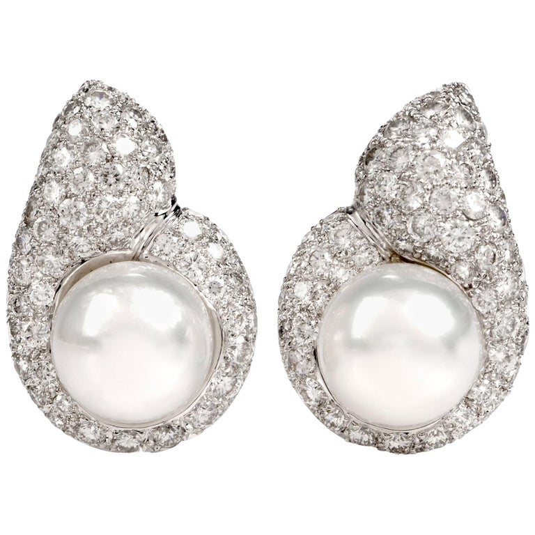 Diamond Pearl Tear Drop Clip-On 18 Karat White Gold Earrings For Sale