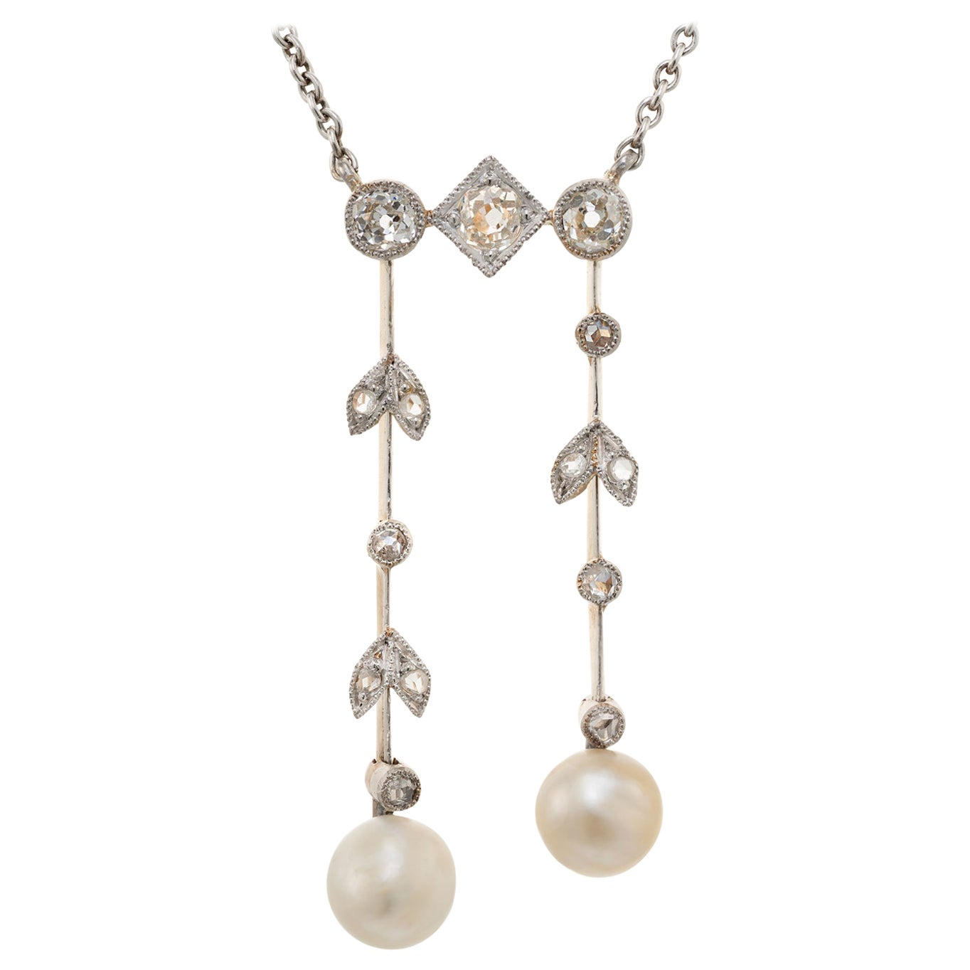 GIA Certified Natural Pearl Diamond Double Dangle Gold Silver Pendant Necklace