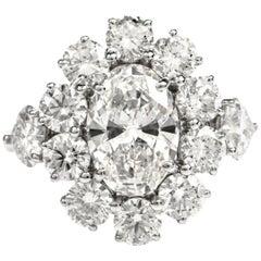 Graff Diamond Oval Platinum Engagement Cocktail Ring