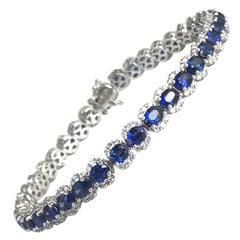 7.64 Carat Vivid Blue Sapphire and Diamond Bracelet in 18 Karat White Gold