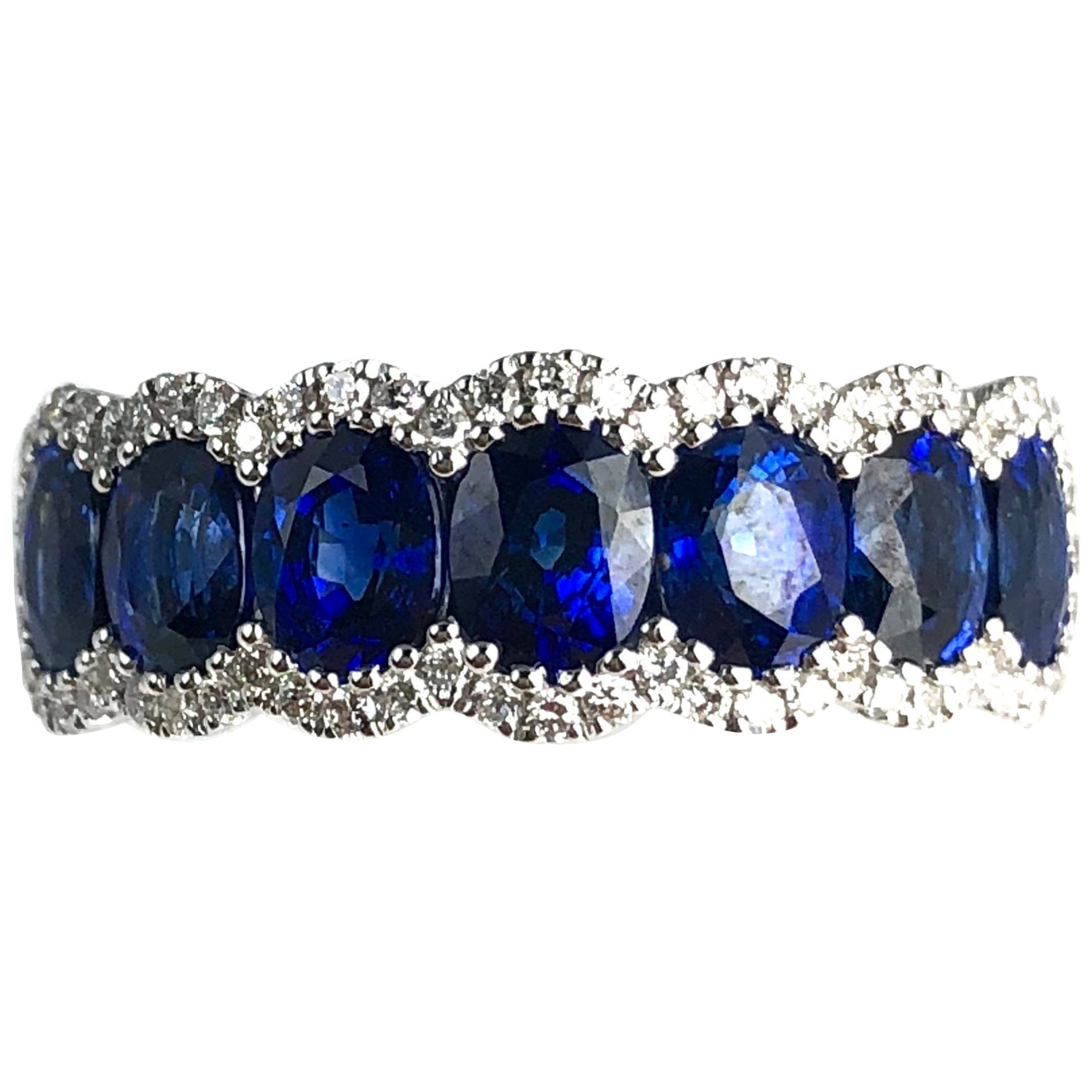 DiamondTown 2.76 Carat Vivid Blue Sapphire and Diamond Ring in 18 Karat Gold