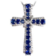 1.24 Carat Vivid Blue Sapphire and Diamond Embellished Cross Pendant