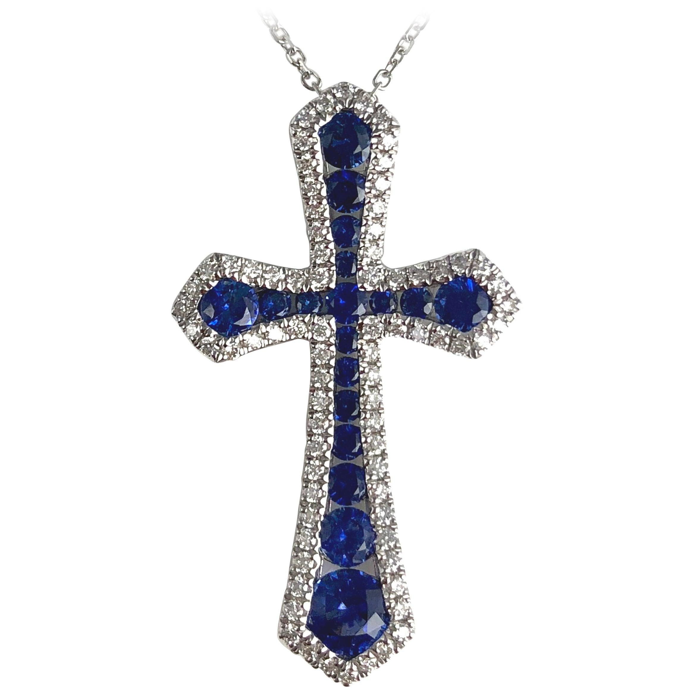 DiamondTown 0.94 Carat Vivid Blue Sapphire and Diamond Cross Pendant