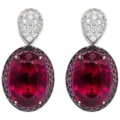 Oval Tourmaline Diamond Earrings