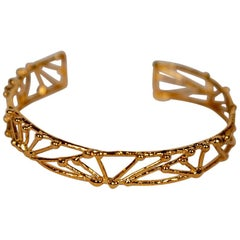 "Petite Gold-Plated Bronze ""Twig"" Bracelet by Franck Evennou, France, 2018"
