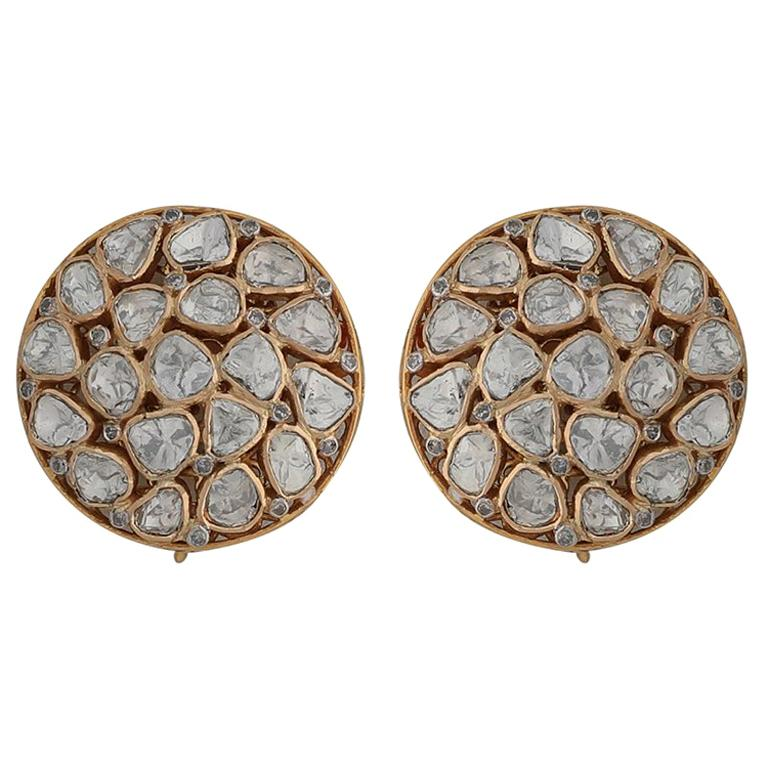 af5d0caf2 Manjrie Uncut Diamond 18k Gold handcrafted Contemporary Stud Earrings For  Sale