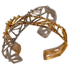 "Petite Silver Plated Bronze ""Twig"" Bracelet by Franck Evennou, France, 2018"
