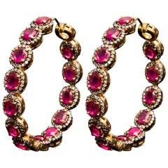 Manjrie Ruby Single-Cut Diamond 14k Gold handcrafted Victorian Hoop Earrings