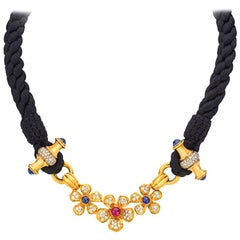 Vintage Harry Winston 18 Karat YG Daisy Choker with Diamonds, Ruby and Sapphires