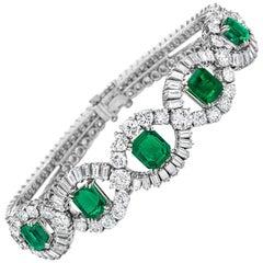 1950s Mellerio dits Meller Paris Emerald Diamond Platinum Bracelet