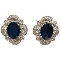 Michael Christoff 5.33 Carat Sapphire and Diamond White Gold Filigree Earrings