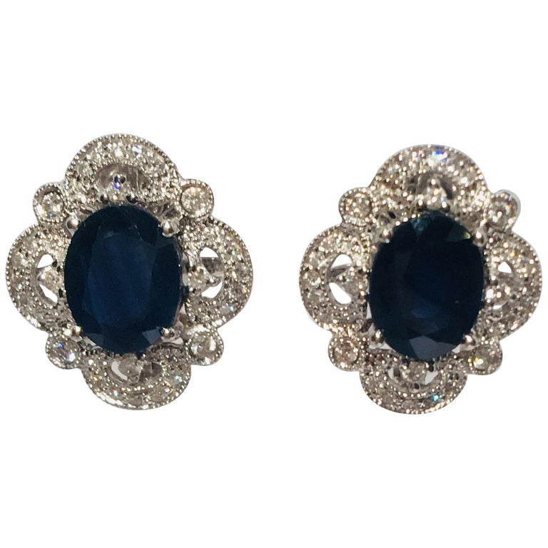 Michael Christoff 5.33 Carat Sapphire and Diamond White Gold Filigree Earrings For Sale