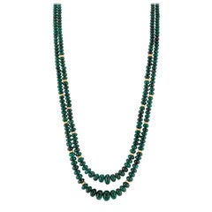 Two Strand Emerald Beaded Necklace