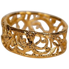 "Gold-Plated Bronze ""Plant"" Bracelet by Franck Evennou, France, 2018"