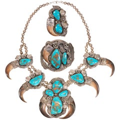 Bear Claw and Turquoise Squash Blossom Set
