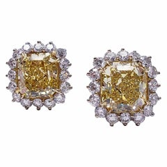 Scarselli 7 Carat Each Fancy Vivid Yellow Statement Earrings in Platinum - GIA