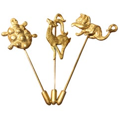 "Gold-Plated Bronze ""Animal"" Brooches by Franck Evennou, France, 2018"