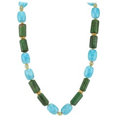 Aquamarine and Tourmaline Barrel Shaped Bead Necklace with Yellow Gold Accents