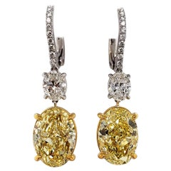 Scarselli Fancy Intense Yellow Oval Diamond Drop Earrings 4 Carats Each - GIA