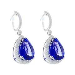 17.82 Carat Total Pear Shape Tanzanite and Diamond Earrings in 18 Karat Gold