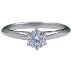 Tiffany & Co. Platinum Diamond Engagement Ring Round 0.47 Carat D VS2