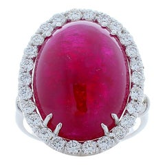 Certified 24.25 Carat Ruby Cabochon And Diamond Cocktail Ring In 18 K White Gold