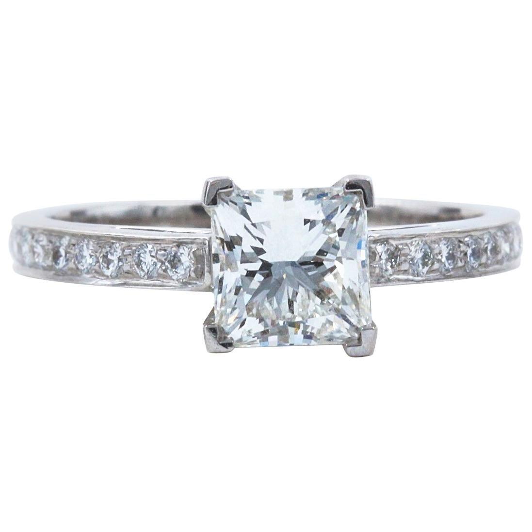 Tiffany & Co. Princess Diamond Engagement Ring 1.29 Carat Platinum
