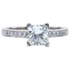 Tiffany & Co. Princess Diamond Engagement Ring 1.29 Carat Platinum