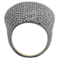 Manjrie Single-Cut Diamond 18k Gold handcrafted  Cocktail Dome Ring