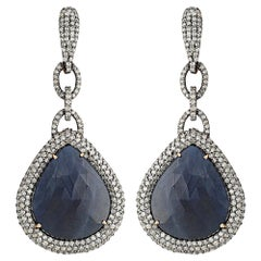 Manjrie Blue Sapphire Single-Cut Diamond 18k Gold Victorian Dangle Earrings